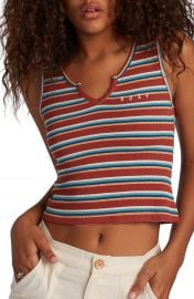 Roxy Retro Paradise Stripe Ribbed Tank Top   Nordstrom at Nordstrom
