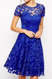 Royal Blue Fairy Lace Dress at Oasap