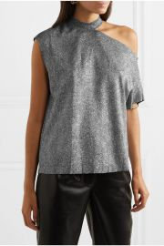 RtA - Axel one-shoulder cutout metallic jersey top at Net A Porter