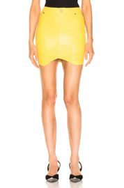RtA Tempest Leather Skirt in Electric Yellow   FWRD at Forward