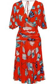 Ruched floral-print gauze dress at The Outnet