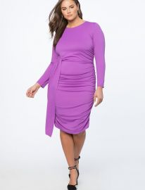Ruched Dress with Skirt Overlay at Eloquii
