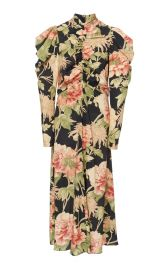 Ruched Floral-Print Silk-Blend Midi Dress at Moda Operandi