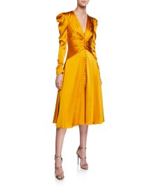Ruched-Front V-Neck Long-Sleeve Sateen Dress by Jonathan Simkhai at Bergdorf Goodman
