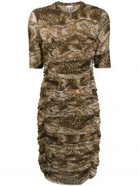 Ruched Graphic Snake Dress by Ganni at Farfetch