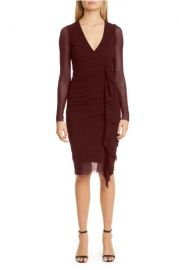 Ruched Ruffle Long Sleeve Dress at Nordstrom