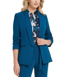 Ruched-Sleeve Open-Front Blazer by DKNY at Macys
