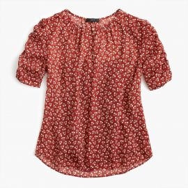 Ruched Sleeve Top in Sparkle Floral at J. Crew