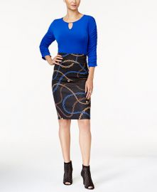 Ruched Top & Pencil Skirt at Macys