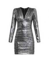 Ruched metallic mini dress at Bcbgmaxazria