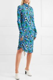 Ruched printed crepe midi dress by Marni at Net A Porter
