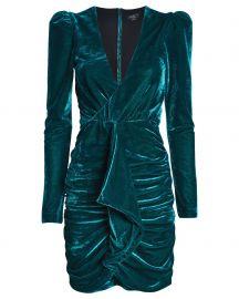 Ruched velvet mini dress at Intermix