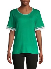 Ruffle & Embroidery-Trim Short-Sleeve Sweater at Saks Off 5th