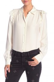 Ruffle Silk Long Sleeve Blouse by Frame at Nordstrom Rack