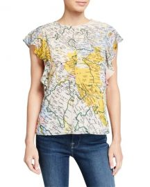 Ruffle-Sleeve Map Crewneck Top at Last Call