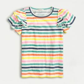 Ruffle-Sleeve T-shirt in Stripe at J. Crew Factory