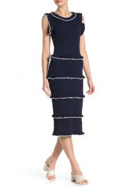 Ruffle Stripe Crochet Knit Midi Dress by Alexia Admor at Nordstrom Rack