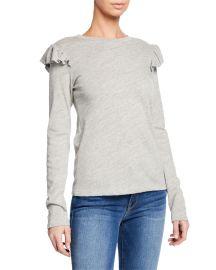 Ruffle-Trim Long-Sleeve T-Shirt at Last Call