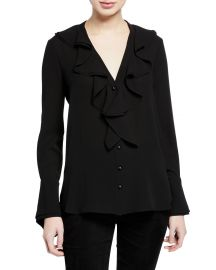 Ruffle-Trimmed Button-Front French-Cuff Silk Blouse at Bergdord Goodman