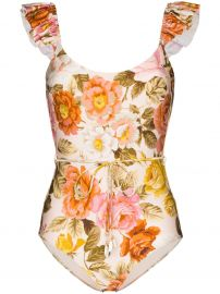 Ruffle Trimmed Floral Print Swimsuit at Farfetch