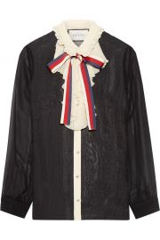 Ruffle Trimmed Silk Georgette Shirt by Gucci at Net A Porter