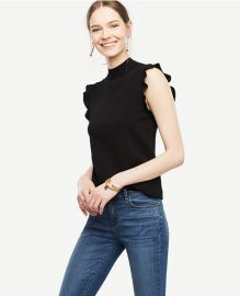 Ruffle sleeve mock neck sweater at Ann Taylor