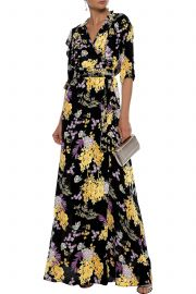 Ruffle-trimmed floral-print crepe de chine maxi wrap dress at The Outnet