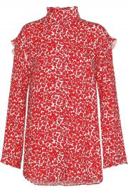 Ruffle-trimmed floral-print silk crepe de chine blouse at The Outnet