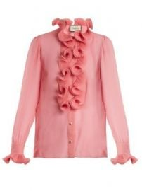 Ruffle-trimmed sheer silk-georgette blouse at Matches