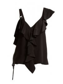 Ruffle-trimmed silk crepe de Chine top at Matches