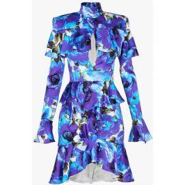 Ruffled Floral Print Dress by Balmain at SSENSE