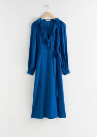 Ruffled Jacquard Midi Wrap Dress at & Other Stories