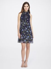 Ruffled Keyhole Floral Print Chiffon Dress by Tahari ASL at Tahari ASL