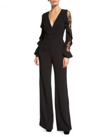 Ruffled Lace-Sleeve Crepe Jumpsuit by Elie Saab at Bergdorf Goodman