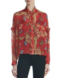 Ruffled Leaf & Butterfly-Print Silk Shirt by The Kooples at Bloomingdales