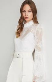 Ruffled Neck Embroidered Top at Bcbgmaxazria