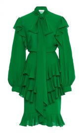 Ruffled Silk-Georgette Tie-Neck Midi Dress by Michael Kors Collection at Moda Operandi