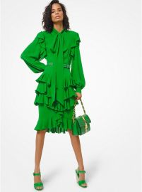 Ruffled Silk-Georgette Tie-Neck Midi Dress by Michael Kors Collection at Michael Kors