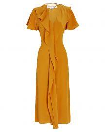 Ruffled Silk Midi Dress at Intermix