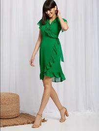 Ruffled Wrap Dress  at NY&C