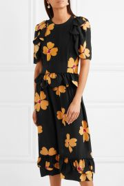 Ruffled floral-print silk-crepe midi dress at Net A Porter