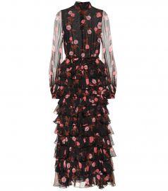 Ruffled floral silk gown at Mytheresa