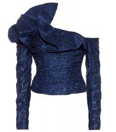 Ruffled lace off-the-shoulder top at Mytheresa
