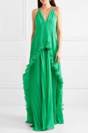 Ruffled plissé-chiffon maxi dress at Net A Porter