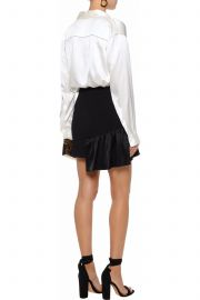 Ruffled satin-paneled crepe mini skirt by Cinq a Sept at The Outnet