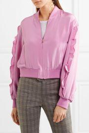 Ruffled silk crepe de chine bomber jacket at Net A Porter