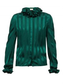 Ruffled striped silk-satin blouse by Saint Laurent at Matches