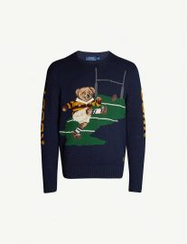 Rugby bear cotton and linen-blend knit jumper at Selfridges