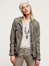 Rumpled Leather Blazer at Free People