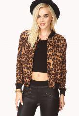 Run Wild Leopard Varsity Jacket at Forever 21